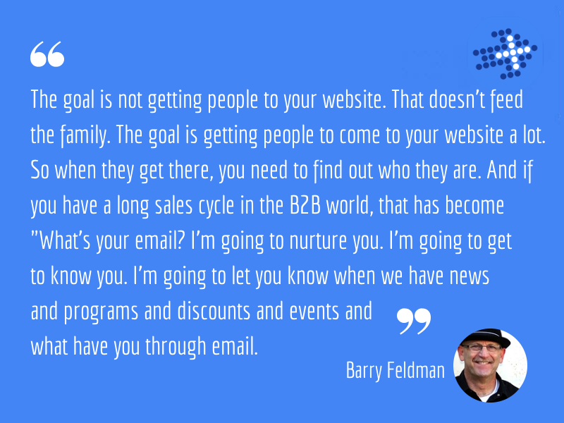 The goal is not getting people to your website. That doesn't feed the family. The goal is getting people to come to your website a lot. So when they get there, you need to find out who they are. And if you have a long sales cycle in the B2B world, that has become what's your email? I'm going to nurture you. I'm going to get to know you. I'm going to let you know when we have news and programs and discounts and events and what have you through email.