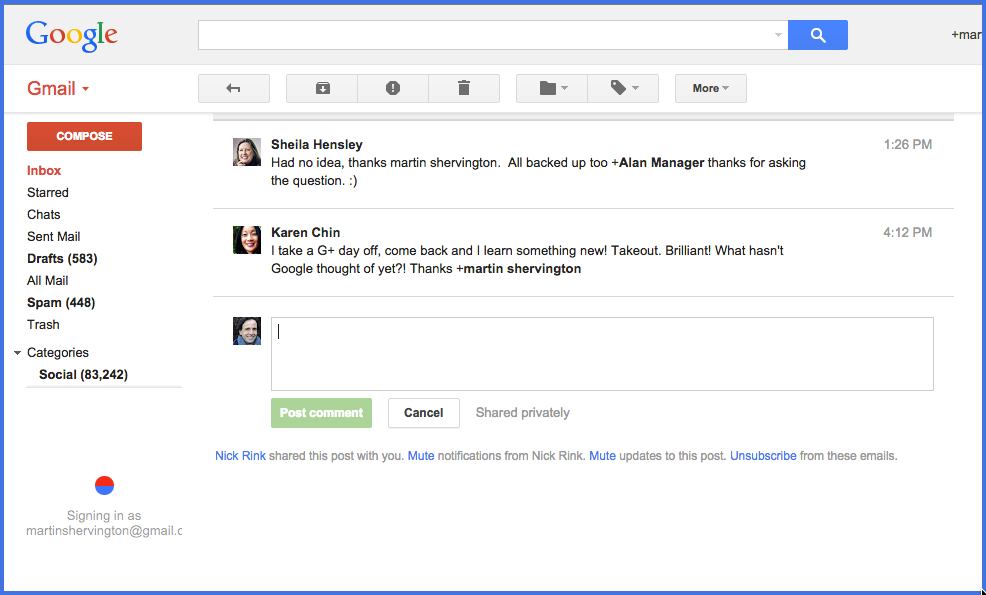 G+ post in Gmail