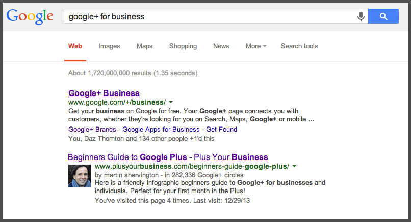 Google+ for Business Search Result