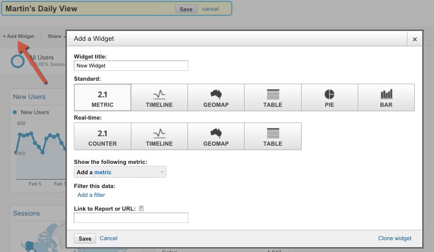 How to create a custom dashboard in Google Analytics 5