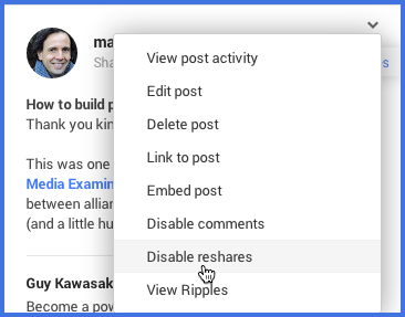 How to disable reshares after posting (2)