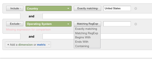 How to filter results based on Dimensions or Metrics 6