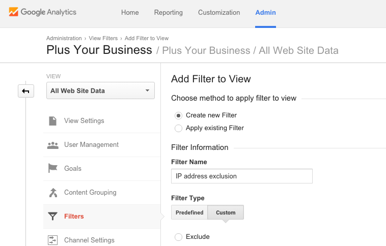 How to setup custom filters in Google Analytics 1