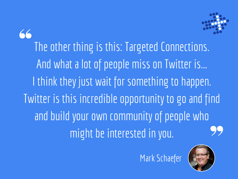 The other thing is these Targeted Connections.  And what a lot of people miss on Twitter is I think they just wait for something to happen.  Twitter is this incredible opportunity to go and find and build your own community of people who might be interested in you.