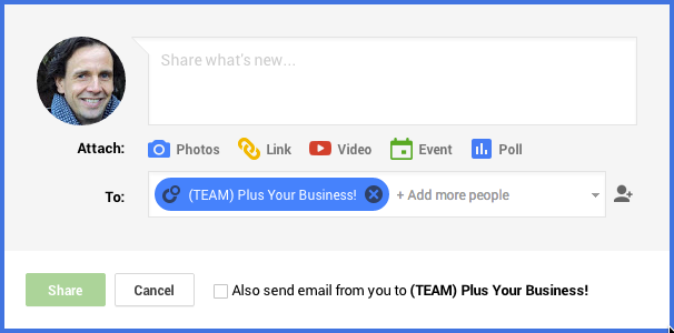 Sending a private Google+ message to a team