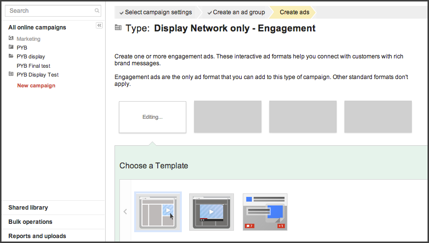 Step 4 - choose a template
