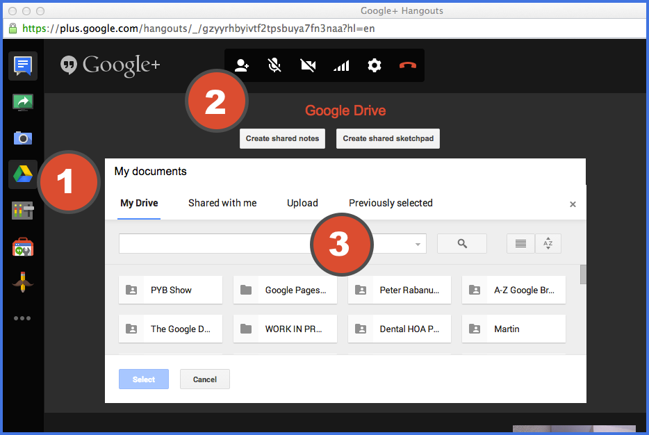 Using Google Drive in a Google Hangout