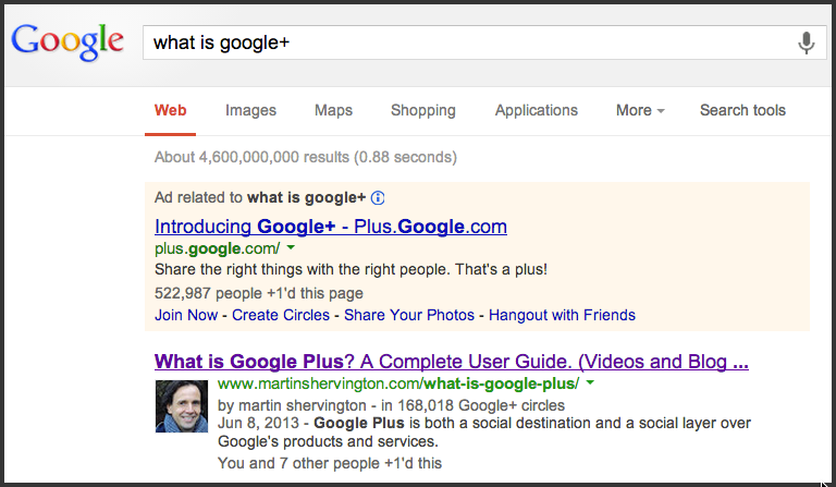 What is Google+ Search result
