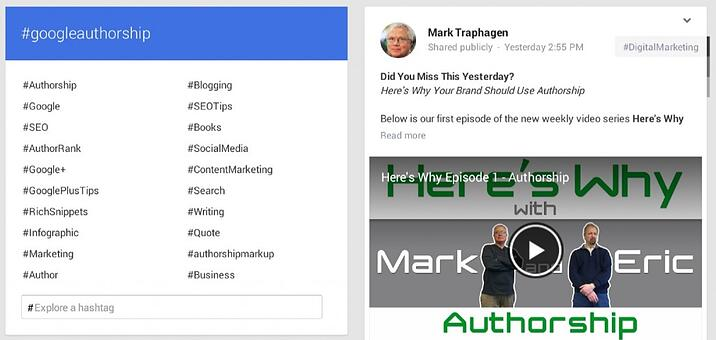 Related Hashtags in Google+ Explore Tab