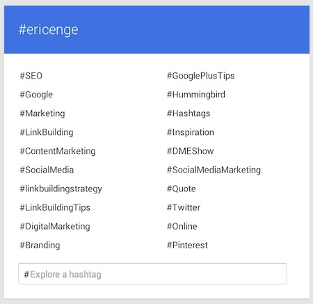 #ericenge hashtag in Google+ Explore
