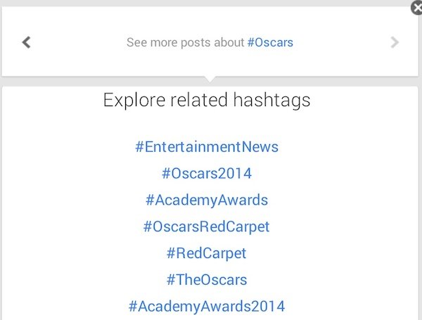 Related hashtags on a Google+ Post